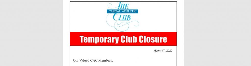 Capital Athletic Club Closure Announcement